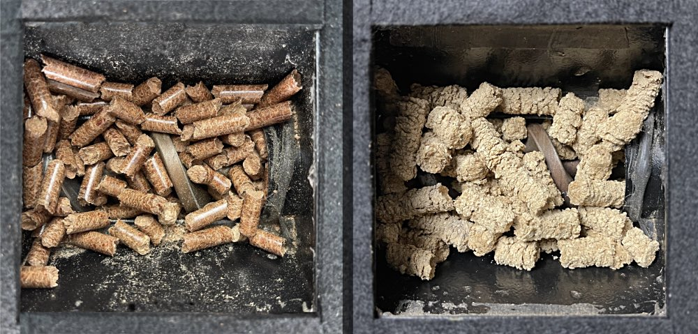 Wood pellets dry and wet in auger
