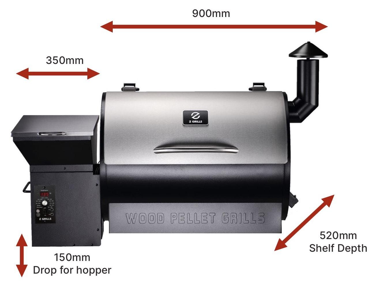 Z Grills 700E-XL Pellets Smoker Built in BBQ Dimensions